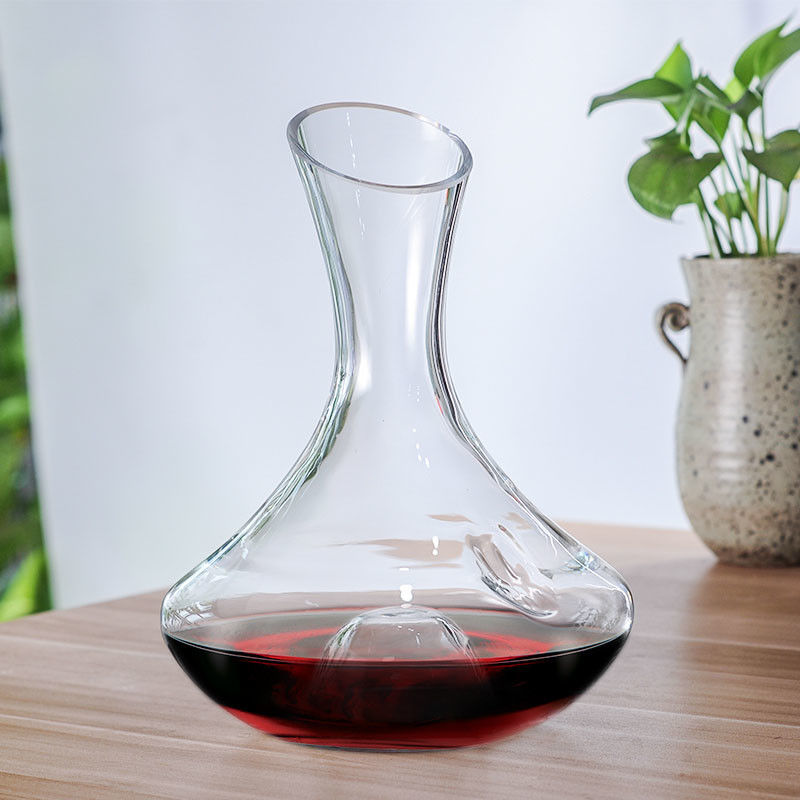 Finely Polished Glass Wine Decanter With Finger Hole Finger Hold Punt